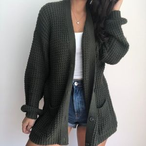NWT American Eagle olive green knit cardigan M